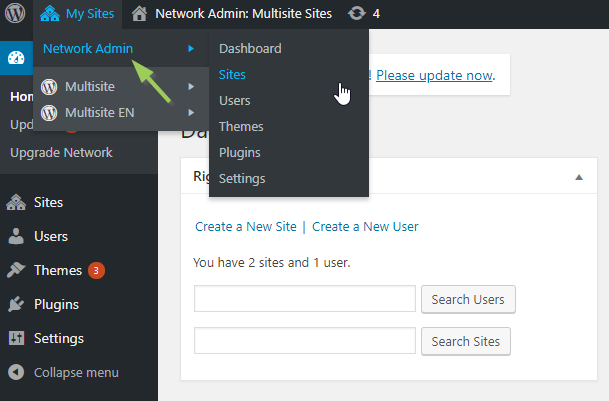 wp multisite network admin menu