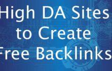 High DA Sites to Create Free Backlinks